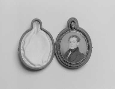 Thomas Seir Cummings (American, born England, 1804-1894). <em>Portrait of Erasmus Darwin Foote</em>, ca. 1832-1833. Watercolor on ivory portrait in brass locket with glass lenses on both sides, Image (sight): 2 9/16 x 2 1/16 in. (6.5 x 5.2 cm). Brooklyn Museum, Museum Collection Fund, 16.687.2 (Photo: Brooklyn Museum, 16.687.2_bw.jpg)