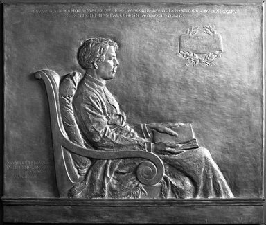 Helen Farnsworth Mears (American, 1871-1916). <em>Edward Alexander Mac Dowell</em>, 1906. Bronze, Bronze plaque: 33 3/16 x 39 3/4 x 1 3/16 in. (84.3 x 101 x 3 cm). Brooklyn Museum, Gift of Anne Lupton Prince, 16.757. Creative Commons-BY (Photo: Brooklyn Museum, 16.757_acetate_bw.jpg)