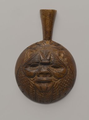 <em>Spoon with Face of Bes or another Birth God</em>, ca. 1539-1292 B.C.E. Wood, 2 11/16 x 4 1/8 in. (6.9 x 10.5 cm). Brooklyn Museum, Gift of Evangeline Wilbour Blashfield, Theodora Wilbour, and Victor Wilbour honoring the wishes of their mother, Charlotte Beebe Wilbour, as a memorial to their father, Charles Edwin Wilbour, 16.78. Creative Commons-BY (Photo: Brooklyn Museum, 16.78_side1_PS9.jpg)