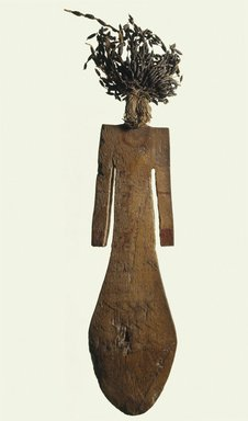 <em>Paddle Doll</em>, ca. 2008-1630 B.C.E. Wood, mud, flax, faience, pigment, 8 x 2 1/16 in. (20.3 x 5.2 cm). Brooklyn Museum, Gift of Evangeline Wilbour Blashfield, Theodora Wilbour, and Victor Wilbour honoring the wishes of their mother, Charlotte Beebe Wilbour, as a memorial to their father, Charles Edwin Wilbour, 16.84. Creative Commons-BY (Photo: Brooklyn Museum, 16.84_SL1.jpg)