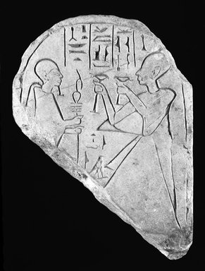 <em>Fragmentary Stela</em>, ca. 1539-1075 B.C.E. Limestone, 6 5/16 x 4 3/4 x 1 5/8 in. (16 x 12.1 x 4.2 cm). Brooklyn Museum, Gift of Evangeline Wilbour Blashfield, Theodora Wilbour, and Victor Wilbour honoring the wishes of their mother, Charlotte Beebe Wilbour, as a memorial to their father, Charles Edwin Wilbour, 16.93. Creative Commons-BY (Photo: Brooklyn Museum, 16.93_bw_IMLS.jpg)