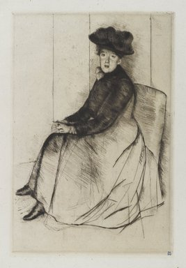 Mary Cassatt (American, 1844-1926). <em>Reflection</em>, ca. 1890. Drypoint on green colored laid paper, 10 1/4 x 6 3/4 in. (26 x 17.2 cm). Brooklyn Museum, Gift of the Brooklyn Society of Etchers, 17.106 (Photo: Brooklyn Museum, 17.106_PS4.jpg)