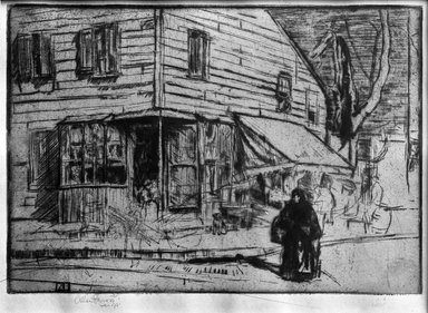 Allen Lewis (American, 1873-1957). <em>The Corner Butcher Shop</em>, ca. 1916. Drypoint on paper, image: 6 7/8 x 9 13/16 in. (17.5 x 25 cm). Brooklyn Museum, Museum Collection Fund, 17.107 (Photo: Brooklyn Museum, 17.107_glass_bw.jpg)