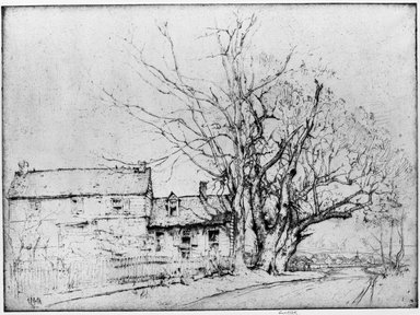 Ernest David Roth (American, 1879-1964). <em>A New Jersey Farm House</em>, 1916. Etching and drypoint on grey colored laid paper, Plate: 10 7/8 x 14 13/16 in. (27.7 x 37.7 cm). Brooklyn Museum, Museum Collection Fund, 17.108 (Photo: Brooklyn Museum, 17.108_acetate_bw.jpg)