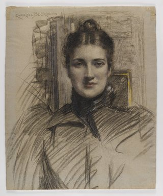 J. Carroll Beckwith (American, 1852-1917). <em>Portrait of Minnie Clark</em>, ca. 1890s. Charcoal and pastel on blue-fibered, medium-weight, moderately textured laid paper, Sheet: 22 3/8 x 18 1/4 in. (56.8 x 46.4 cm). Brooklyn Museum, Gift of J. Carroll Beckwith, 17.127 (Photo: Brooklyn Museum, 17.127_IMLS_PS4.jpg)