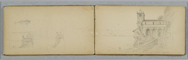 Sanford Robinson Gifford (American, 1823-1880). <em>Italian Sketchbook</em>, 1867-1868. Graphite on tan, medium-weight, slightly textured wove paper, 5 x 9 x 7/16 in. (12.7 x 22.9 x 1.1 cm). Brooklyn Museum, Gift of Jennie Brownscombe, 17.141 (Photo: Brooklyn Museum, 17.141_p34-35_PS2.jpg)