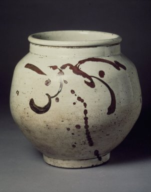 <em>Jar</em>, 19th century. Porcelain with iron pigment under glaze, Height: 8 7/8 in. (22.5 cm). Brooklyn Museum, Museum Collection Fund, 17.21. Creative Commons-BY (Photo: Brooklyn Museum, 17.21.jpg)