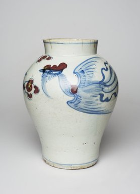 <em>Jar</em>, last half of 19th century. Porcelain with underglaze, cobalt and copper decoration, Height: 8 15/16 in. (22.7 cm). Brooklyn Museum, Museum Collection Fund, 17.25. Creative Commons-BY (Photo: , 17.25_PS11.jpg)