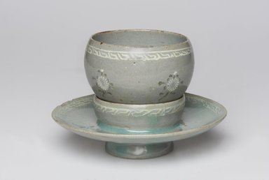 <em>Cup and Cup Stand</em>, last half 12th century. Porcelaneous stoneware with celadon glaze, inlaid glaze decoration, Cup:. Brooklyn Museum, Museum Collection Fund, 17.26a-b. Creative Commons-BY (Photo: , 17.26a-b_PS11.jpg)