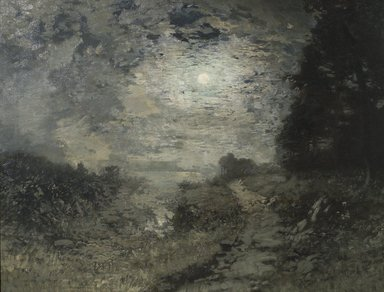 Alexander Helwig Wyant (American, 1836-1892). <em>Moonlight and Frost</em>, 1890-1892. Oil on canvas, 27 15/16 x 36 in. (71 x 91.5 cm). Brooklyn Museum, Bequest of Laura Frances Hoppock Hearn, 17.42 (Photo: Brooklyn Museum, 17.42.jpg)