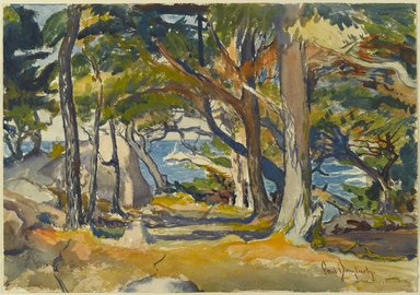 Paul Dougherty (American, 1877-1947). <em>Cedar Grove by the Sea</em>, ca. 1916. Watercolor and charcoal on cream, moderately thick, moderately textured wove paper, Sheet: 13 3/4 x 19 5/8 in. (34.9 x 49.8 cm). Brooklyn Museum, Museum Collection Fund and Frederick Loeser Fund, 17.46 (Photo: Brooklyn Museum, 17.46_PS2.jpg)