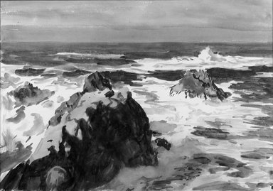 Paul Dougherty (American, 1877-1947). <em>Long Surf</em>. Watercolor, Sheet: 14 x 19 15/16 in. (35.6 x 50.7 cm). Brooklyn Museum, Museum Collection Fund and Frederick Loeser Fund, 17.47 (Photo: Brooklyn Museum, 17.47_glass_bw.jpg)