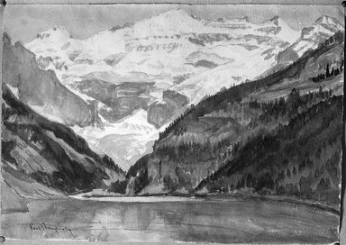 Paul Dougherty (American, 1877-1947). <em>Victoria Glacier, Lake Louise</em>. Watercolor over pencil, Sheet: 13 3/4 x 19 11/16 in. (35 x 50 cm). Brooklyn Museum, Museum Collection Fund and Frederick Loeser Fund, 17.49 (Photo: Brooklyn Museum, 17.49_glass_bw.jpg)
