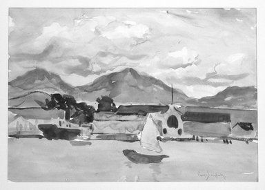 Paul Dougherty (American, 1877-1947). <em>Kowloon</em>, ca. 1915. Watercolor, Sheet: 14 x 19 15/16 in. (35.6 x 50.7 cm). Brooklyn Museum, Museum Collection Fund and Frederick Loeser Fund, 17.50 (Photo: Brooklyn Museum, 17.50_bw.jpg)
