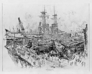 Joseph Pennell (American, 1860-1926). <em>Building Submarine Chasers</em>, 1917. Lithograph, composition: 15 3/4 x 20 1/2 in. (40 x 52.1 cm). Brooklyn Museum, Museum Collection Fund, 17.60 (Photo: Brooklyn Museum, 17.60_bw.jpg)