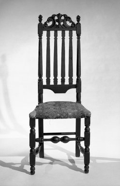 <em>Baluster Back Chair With Carved Cresting</em>, ca. 1700., 47 1/2 x 18 x 14 1/2 in. (120.7 x 45.7 x 36.8 cm). Brooklyn Museum, Henry L. Batterman Fund, 17.7. Creative Commons-BY (Photo: Brooklyn Museum, 17.7_bw.jpg)