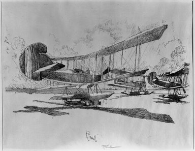 Joseph Pennell (American, 1860-1926). <em>Hydroplanes At Rest on the Beach</em>, 1917. Lithograph, composition: 14 3/16 x 20 7/8 in. (36 x 53 cm). Brooklyn Museum, Museum Collection Fund, 17.87 (Photo: Brooklyn Museum, 17.87_acetate_bw.jpg)