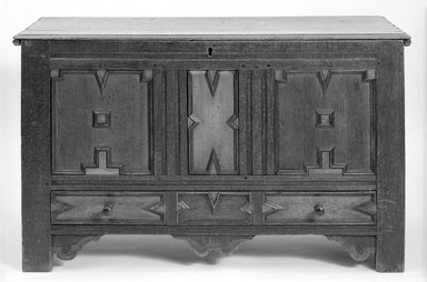 <em>Panelled Oak Chest</em>, ca. 1697. Oak wood, 29 1/2 x 49 1/2 x 20 1/2 in. (74.9 x 125.7 x 52.1 cm). Brooklyn Museum, Henry L. Batterman Fund, 17.9. Creative Commons-BY (Photo: Brooklyn Museum, 17.9_front_bw.jpg)