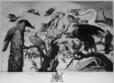 Richard Earlom (British, 1743-1822). <em>A Concert of Birds</em>, 1778. Mezzotint on laid paper, 16 1/2 x 22 5/8 in. (41.9 x 57.4 cm). Brooklyn Museum, Gift of Mrs. Joseph E. Brown in memory of the late Joseph Epes Brown, 18.110 (Photo: Brooklyn Museum, 18.110_acetate_bw.jpg)