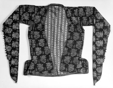 <em>Woman's Short Jacket</em>, mid-19th century. Silk, plain compound satin weave (body) and plain satin weave (binding); wool, plain compound cloth weave; cotton, plain cloth weave (lining), 73 1/4 x 22 1/16 in. (186 x 56 cm). Brooklyn Museum, Frederick Loeser Fund, 18.11. Creative Commons-BY (Photo: Brooklyn Museum, 18.11_front_bw.jpg)
