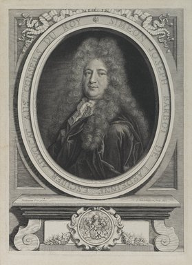 Pieter van Schuppen (Flemish, ca. 1623-1702). <em>Simeon Joseph de Barbot de Lardeine</em>, 1691. Steel engraving on laid paper, Plate: 11 x 7 15/16 in. (27.9 x 20.2 cm). Brooklyn Museum, Gift of Mrs. Joseph E. Brown in memory of the late Joseph Epes Brown, 18.136 (Photo: Brooklyn Museum, 18.136_PS2.jpg)