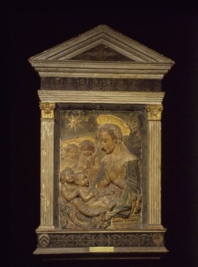Antonio Rossellino (Italian, 1427-1479). <em>Madonna, Christ, St.John and Angels</em>, 15th century. Stucco - polychrome, 30 x 20 5/8 inches. Brooklyn Museum, Purchased with funds given by A. Augustus Healy and Robert B. Woodward Memorial Fund, 18.142. Creative Commons-BY (Photo: Brooklyn Museum, 18.142.jpg)
