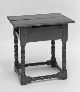 <em>Tavern Table</em>, 17th or 18th century. Pine, 24 x 17 x 24 1/4 in. (61 x 43.2 x 61.6 cm). Brooklyn Museum, Gift of Mrs. C. V. Sanborn, 18.154. Creative Commons-BY (Photo: Brooklyn Museum, 18.154_acetate_bw.jpg)