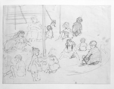 Jerome Myers (American, 1867-1940). <em>Playground Sketch</em>, n.d. Graphite and charcoal on paper, Sheet: 7 1/2 x 10 1/4 in. (19.1 x 26 cm). Brooklyn Museum, John B. Woodward Memorial Fund, 18.162. © artist or artist's estate (Photo: Brooklyn Museum, 18.162_bw.jpg)