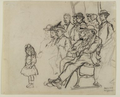 Jerome Myers (American, 1867-1940). <em>Central Park Concert</em>, n.d. Black crayon (probably Conté) on cream, medium-weight, slightly textured wove paper with watermarks., Sheet: 7 1/2 x 9 in. (19.1 x 22.9 cm). Brooklyn Museum, John B. Woodward Memorial Fund, 18.165.1. © artist or artist's estate (Photo: Brooklyn Museum, 18.165.1_PS3.jpg)