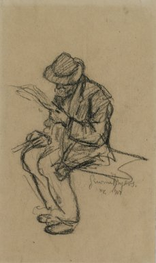 Jerome Myers (American, 1867-1940). <em>Man Reading</em>, 1907. Charcoal on paper, Sheet: 8 3/16 x 4 3/4 in. (20.8 x 12.1 cm). Brooklyn Museum, John B. Woodward Memorial Fund, 18.165.3. © artist or artist's estate (Photo: Brooklyn Museum, 18.165.3.jpg)