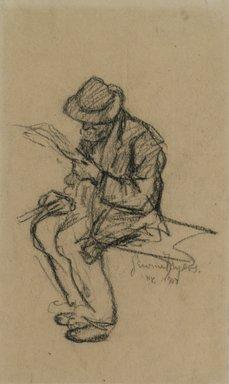 Jerome Myers (American, 1867-1940). <em>Man Reading</em>, 1907. Charcoal on paper, Sheet: 8 3/16 x 4 3/4 in. (20.8 x 12.1 cm). Brooklyn Museum, John B. Woodward Memorial Fund, 18.165.3. © artist or artist's estate (Photo: Brooklyn Museum, 18.165.3.jpg)