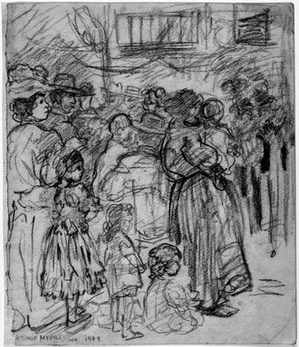 Jerome Myers (American, 1867-1940). <em>Listening to the Band</em>, 1909. Charcoal on paper, Sheet: 8 1/8 x 6 15/16 in. (20.6 x 17.6 cm). Brooklyn Museum, John B. Woodward Memorial Fund, 18.165.4. © artist or artist's estate (Photo: Brooklyn Museum, 18.165.4_bw_IMLS.jpg)