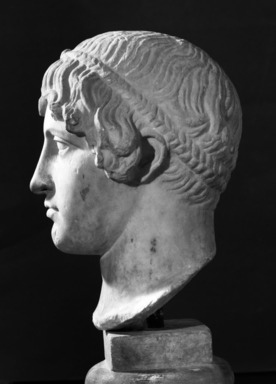 Roman. <em>Head, Apollo of the Omphalos</em>, 1st century C.E. copy of a 480 B.C.E. original. Marble, 12 11/16 x 7 5/8 in. (32.3 x 19.3 cm). Brooklyn Museum, Purchased with funds given by A. Augustus Healy and Robert B. Woodward Memorial Fund, 18.166. Creative Commons-BY (Photo: Brooklyn Museum, 18.166_NegJ_bw_SL4.jpg)