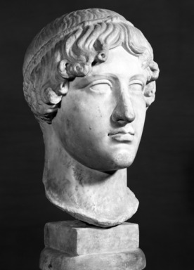 Roman. <em>Head, Apollo of the Omphalos</em>, 1st century C.E. copy of a 480 B.C.E. original. Marble, 12 11/16 x 7 5/8 in. (32.3 x 19.3 cm). Brooklyn Museum, Purchased with funds given by A. Augustus Healy and Robert B. Woodward Memorial Fund, 18.166. Creative Commons-BY (Photo: Brooklyn Museum, 18.166_NegM_bw_SL4.jpg)