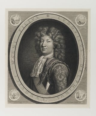 Pieter van Schuppen (Flemish, ca. 1623-1702). <em>Louis Dauphin of France</em>, 1684. Engraving, 17 x 14 3/4 in. (43.2 x 37.5 cm). Brooklyn Museum, Gift of Mrs. Joseph E. Brown in memory of the late Joseph Epes Brown, 18.173.5 (Photo: Brooklyn Museum, 18.173.5_PS1.jpg)