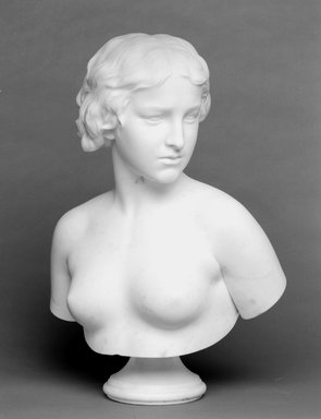 Erastus Dow Palmer (American, 1817-1904). <em>The White Captive</em>, 1866. Marble, 23 3/4 x 16 x 11 in. (60.3 x 40.6 x 27.9 cm). Brooklyn Museum, Gift of Mary S. Croxson, 18.181. Creative Commons-BY (Photo: Brooklyn Museum, 18.181_bw.jpg)