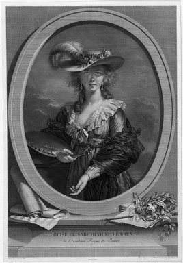 Johann Gotthard Müller (German, 1747-1830). <em>Louise Elisabeth Vigée Le Brun</em>, ca.1783-1785. Engraving on laid paper, 16 15/16 x 11 13/16 in. (43 x 30 cm). Brooklyn Museum, Gift of Mrs. Joseph E. Brown in memory of her husband Joseph Epes Brown, 18.22 (Photo: Brooklyn Museum, 18.22_bw.jpg)