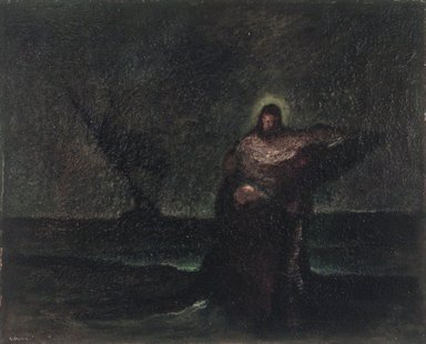 Robert Loftin Newman (American, 1827-1912). <em>Christ Saving Peter</em>, after 1885. Oil on canvas, 16 1/8 x 19 15/16 in. (40.9 x 50.7 cm). Brooklyn Museum, Museum Collection Fund, 18.29 (Photo: Brooklyn Museum, 18.29_transpc003.jpg)