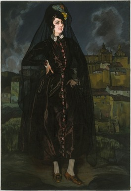 Ignacio Zuloaga y Zabaleta (Spanish, 1870-1945). <em>Portrait of Anita Ramírez in Black</em>, 1916. Oil on canvas, 75 1/8 x 51 1/2 in. (190.8 x 130.8 cm). Brooklyn Museum, Museum Collection Fund, 18.41 (Photo: Brooklyn Museum, 18.41_SL1.jpg)