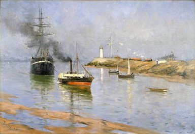 Frank Myers Boggs (American, 1855-1926). <em>The Harbor at Honfleur</em>, 1886. Oil on canvas, 34 9/16 x 50 1/2 in. (87.8 x 128.2 cm). Brooklyn Museum, Gift of Mrs. J. Lester Keep, 18.45 (Photo: Brooklyn Museum, 18.45_reference_SL1.jpg)