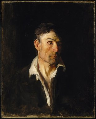 Frank Duveneck (American, 1848-1919). <em>Portrait of a Man  (Richard Creifelds)</em>, ca. 1876. Oil on canvas, 34 3/16 × 28 7/8 × 2 7/8 in. (86.8 × 73.3 × 7.3 cm). Brooklyn Museum, Gift of Eleanor C. Bannister, 18.47 (Photo: Brooklyn Museum, 18.47_SL1.jpg)