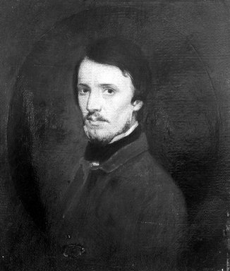 Sanford Robinson Gifford (American, 1823-1880). <em>Study for a Self-Portrait</em>, ca. 1848. Oil on canvas, 10 3/16 x 8 11/16 in. (25.9 x 22 cm). Brooklyn Museum, Museum Collection Fund, 18.49 (Photo: Brooklyn Museum, 18.49_acetate_bw.jpg)