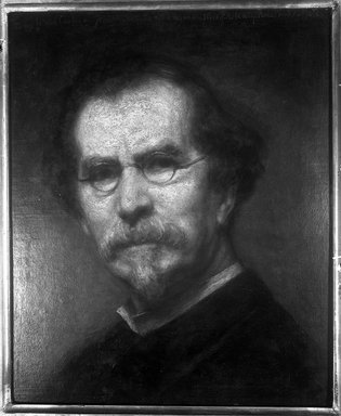 George  Peter Alexander Healy (American, 1813-1894). <em>Self-Portrait</em>, 1886. Oil on canvas, 17 15/16 x 14 in. (45.5 x 35.6 cm). Brooklyn Museum, Frank Sherman Benson Fund, 18.50 (Photo: Brooklyn Museum, 18.50_glass_bw.jpg)