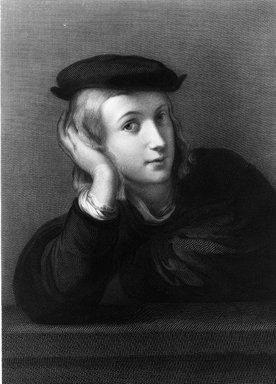 Johann August Eduard Mandel (German, 1810-1888). <em>Portrait of a Young Man</em>, 1860. Engraving on steel on China paper laid down, 17 1/16 x 12 11/16 in. (43.3 x 32.2 cm). Brooklyn Museum, Gift of Mrs. Joseph E. Brown in memory of the late Joseph Epes Brown, 18.66 (Photo: Brooklyn Museum, 18.66_acetate_bw.jpg)