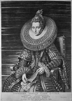 Jan Muller (Dutch, 1571-1628). <em>Isabella Clara Eugenia, Infanta of Spain</em>, 1615. Engraving on laid paper, 16 7/16 x 11 9/16 in. (41.8 x 29.4 cm). Brooklyn Museum, Gift of Mrs. Joseph E. Brown in memory of the late Joseph Epes Brown, 18.69 (Photo: Brooklyn Museum, 18.69_acetate_bw.jpg)