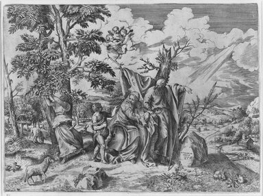 Giulio di Antonio Bonasone (Italian, ca. 1498-ca. 1580). <em>Holy Family</em>, n.d. Engraving and etching on laid paper, 12 15/16 x 17 1/2 in. (32.8 x 44.4 cm). Brooklyn Museum, Gift of Mrs. Joseph E. Brown in memory of the late Joseph Epes Brown, 18.85 (Photo: Brooklyn Museum, 18.85_bw.jpg)