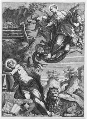 After Agostino Carracci (Italian, 1557-1602). <em>The Virgin Appearing to St. Jerome</em>, 1588. Engraving on laid paper, Plate: 16 7/16 x 11 3/4 in. (41.8 x 29.8 cm). Brooklyn Museum, Gift of Mrs. Joseph E. Brown in memory of the late Joseph Epes Brown, 18.96 (Photo: Brooklyn Museum, 18.96_bw.jpg)