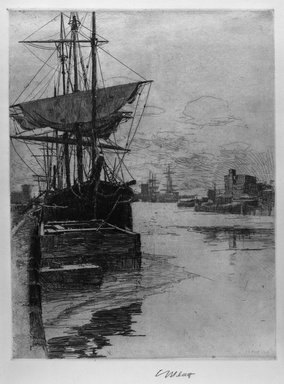 Charles Adams Platt (American, 1861-1933). <em>Atlantic Docks</em>, 1888. Etching on wove paper, Sheet: 20 1/2 x 15 3/8 in. (52.1 x 39.1 cm). Brooklyn Museum, Gift of Frank L. Babbott, 19.136 (Photo: Brooklyn Museum, 19.136_acetate_bw.jpg)