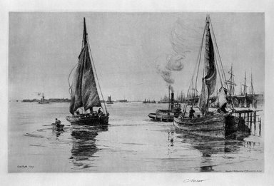 Charles Adams Platt (American, 1861-1933). <em>The Two Sloops (East River)</em>, 1889. Etching on heavy, machine-made Japan paper, Sheet: 21 1/4 x 27 5/8 in. (54 x 70.2 cm). Brooklyn Museum, Gift of Frank L. Babbott, 19.137 (Photo: Brooklyn Museum, 19.137_bw.jpg)