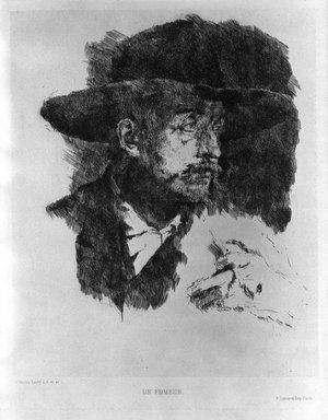 Wilhelm Leibl (German, 1844-1900). <em>Un Fumeur</em>. Etching on laid paper, 8 15/16 x 7 3/8 in. (22.7 x 18.7 cm). Brooklyn Museum, Gift of William J. Baer, 19.140 (Photo: Brooklyn Museum, 19.140_bw.jpg)